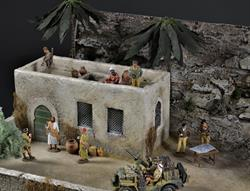 Desert house and oasis - diorama