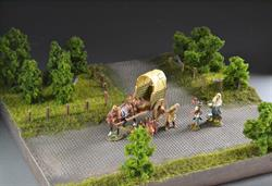 Cobblestone road through forest and land Diorama, 50x45x17cm (Wagon and figures not included).
