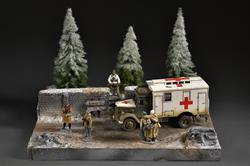 Winter forest road - diorama