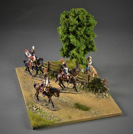 Gravel road in terrain with fences and Tree - diorama, 33x23x20cm (Figures and vehicle not included)
