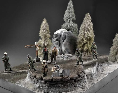 Winter - sandbag-fortifikation Diorama, 40x30x20cm (Figures and anti-air cannon not included)