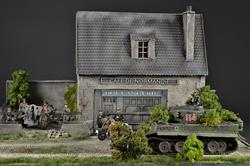 Cafe and Bakery shop - Normandy Diorama, 61x44x40cm (Figures and vehicles not included)
