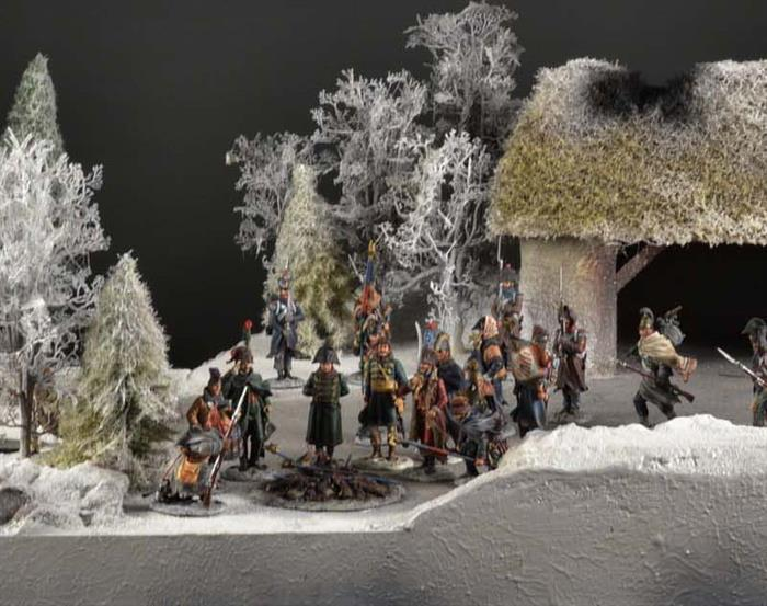 Winter landscape and river - diorama