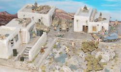 North African Village Diorama, Figures, Vehicles, Bushes and Trees are not incl. (Length 84cm, Wide 75cm & High 28cm.)